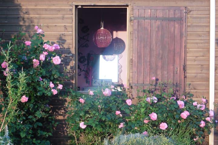Maison en bois  colorée dans le vignoble de Nantes - Monnières - Huis