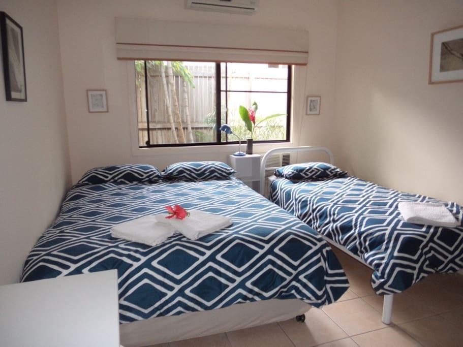 Comfortable Queen bed plus single