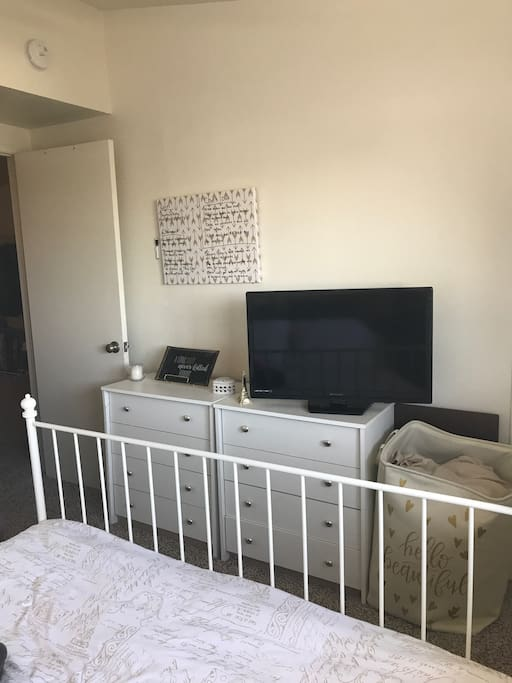 TV with chrome cast in bedroom
