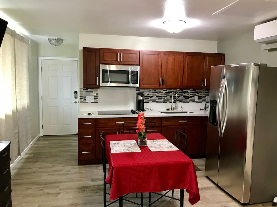Your own fully equipped modern kitchen and dining.