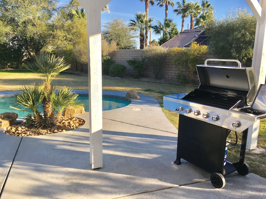 New BBQ outside French Doors faces completely private back yard
