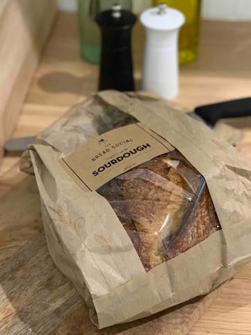 """We also provide delicious Bread Social Sourdough for breakfast (or anytime) for those booking 3+ nights...   You can find the Bread Social range, freshly baked daily, at """"The Farm"""" Byron Bay."""