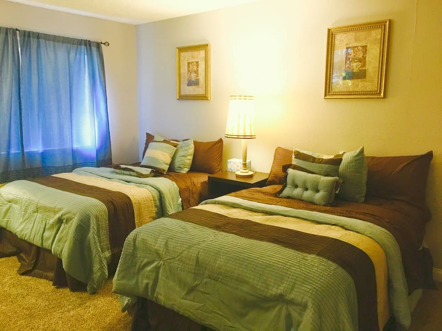 Master Bedroom with 2 Queen size Sealy Beautyrest double Pillow Top Mattress