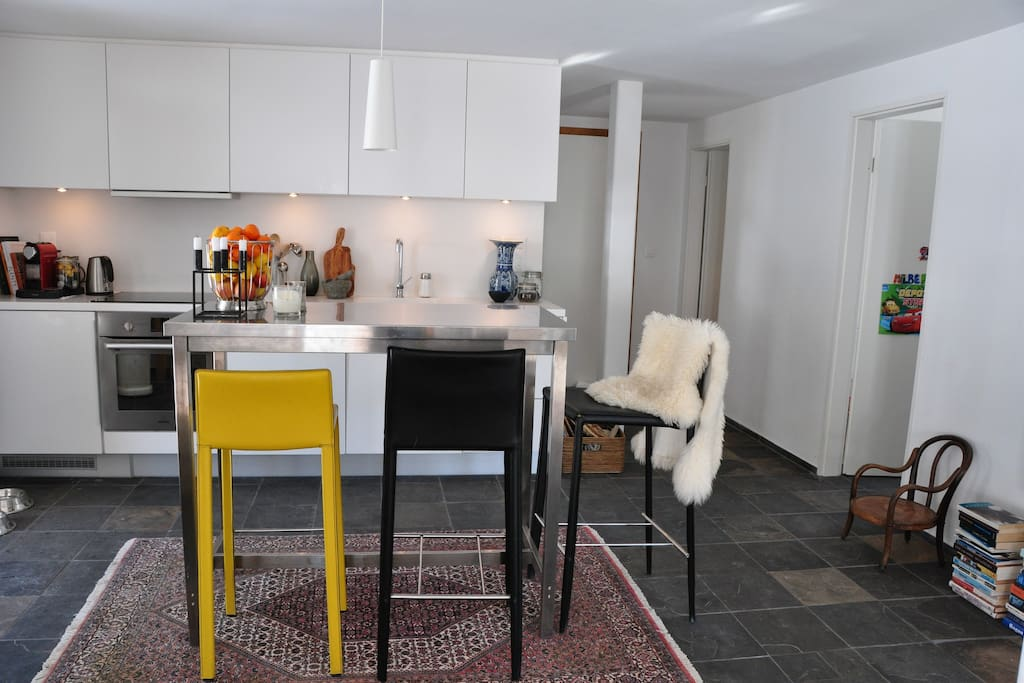 open kitchen with bar table