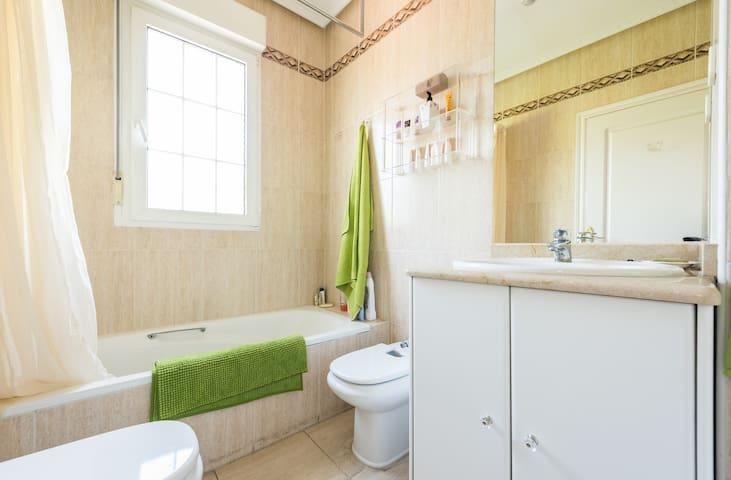 Bathroom with bathtub and shower as well as a bidet.