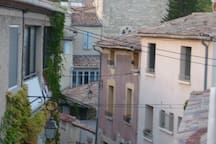 The historic Tour (tower) Ferrand, which contains equally historic frescoes, seen from the cottage balcony