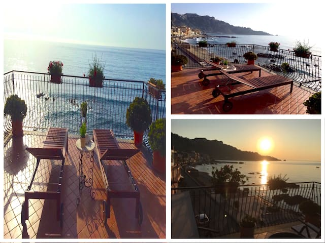 SEA FRONT APARTMENT with Terrace + View - Taormina