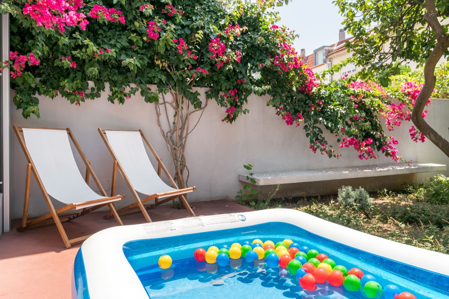 The private garden with swimming pool