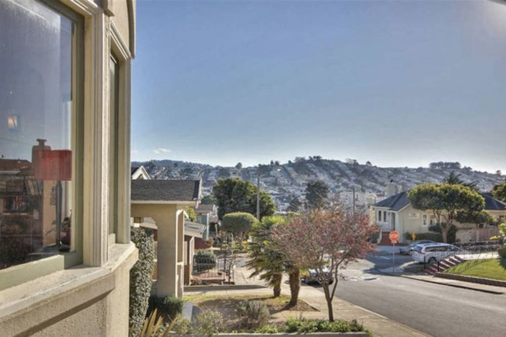 View from the entrance overlooking Ocean Ave and the Ingleside hills
