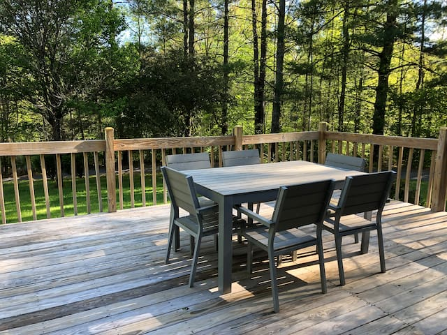 Enjoy meals or relax with a cup of coffee on the large deck. Excellent Wi-Fi coverage extends outdoors.