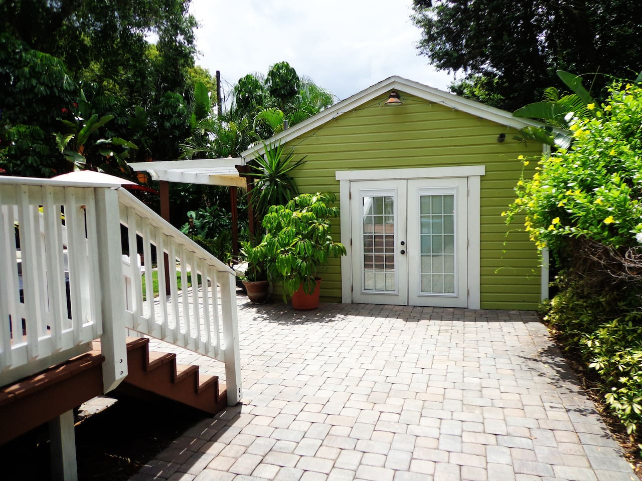 Our bungalow is a separate self-sustaining building in the back of the property. Private & spacious.