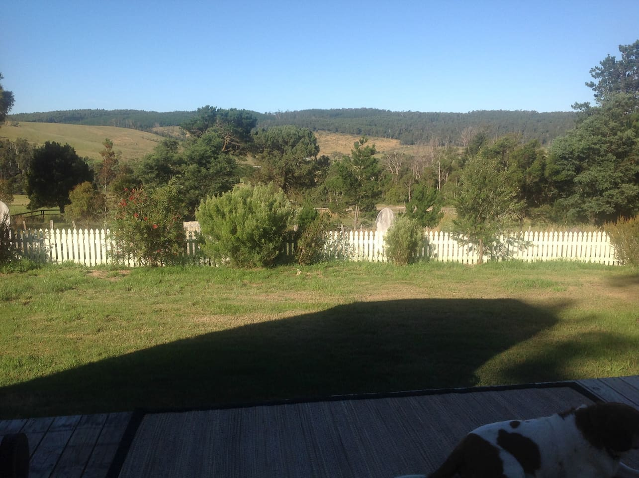 View from the caravan deck, overlooking historic cemetery, some war memorials in the cemetery.