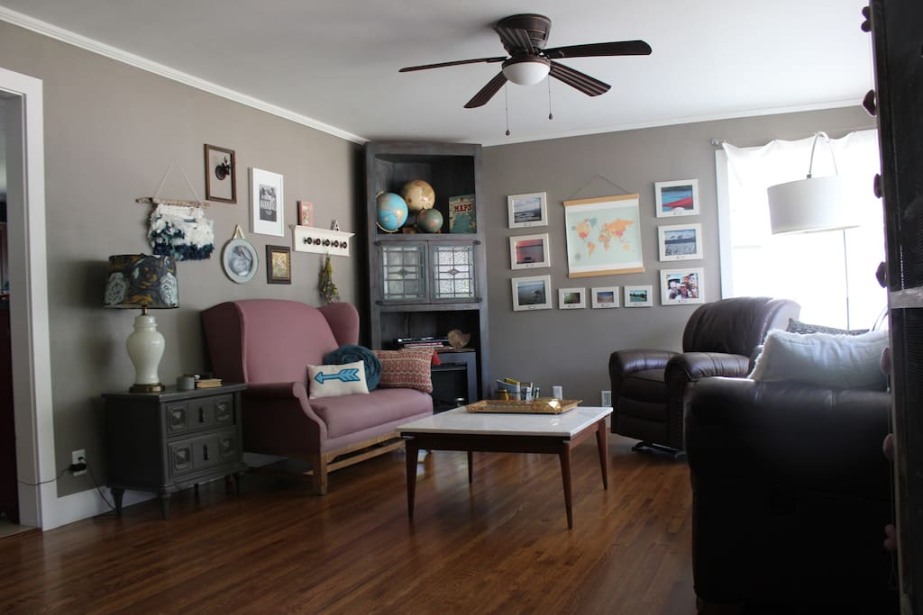 """Bright and airy living room with 32"""" tv/dvd with HDMI option as well."""