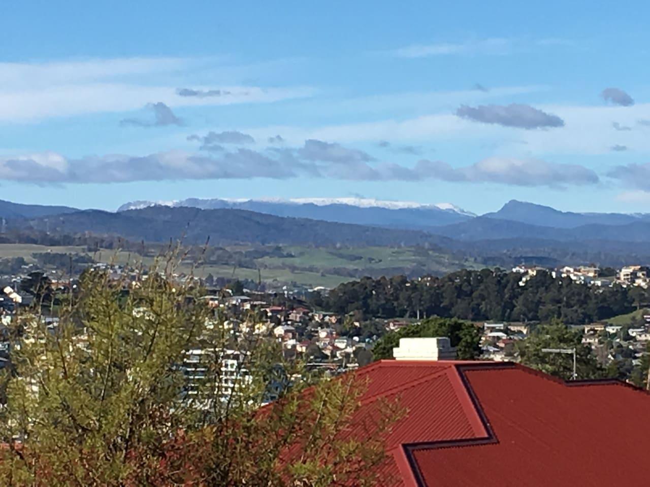 Winter view from balcony towards Ben Lomond ski fields