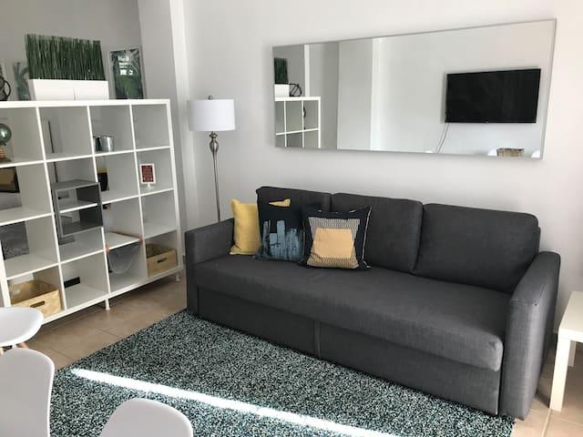 Vista al área de sala. En ella contamos con un sofá cama Queen size en el que puede acomodar fácilmente a dos personas.