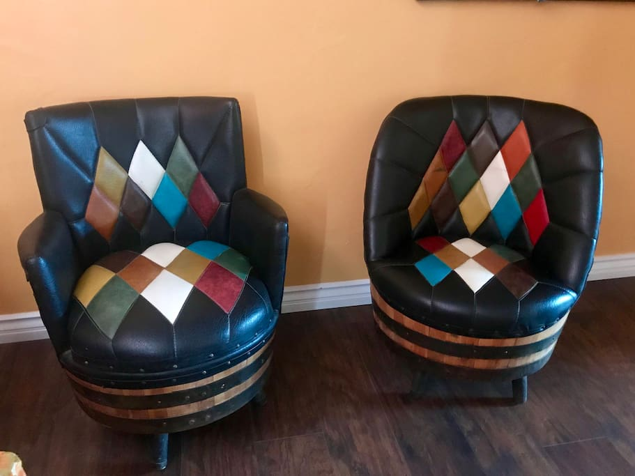 Wine barrel chairs! Two funky new additions for even more seating options!