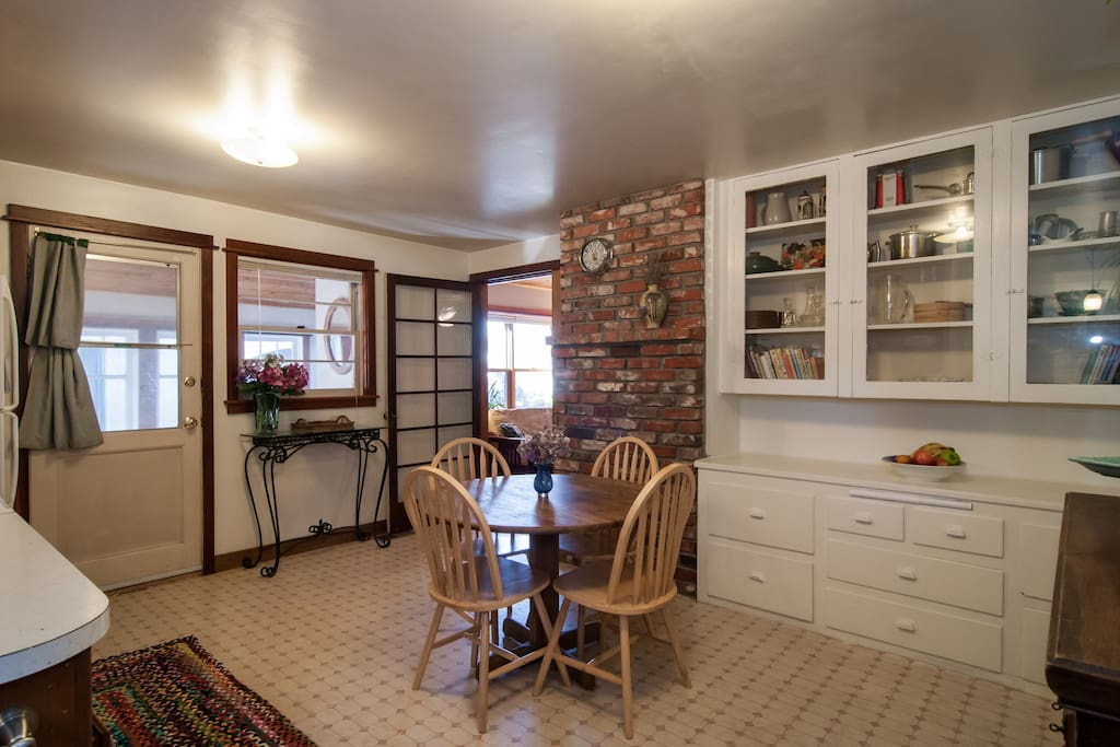 Spacious kitchen with seating for four