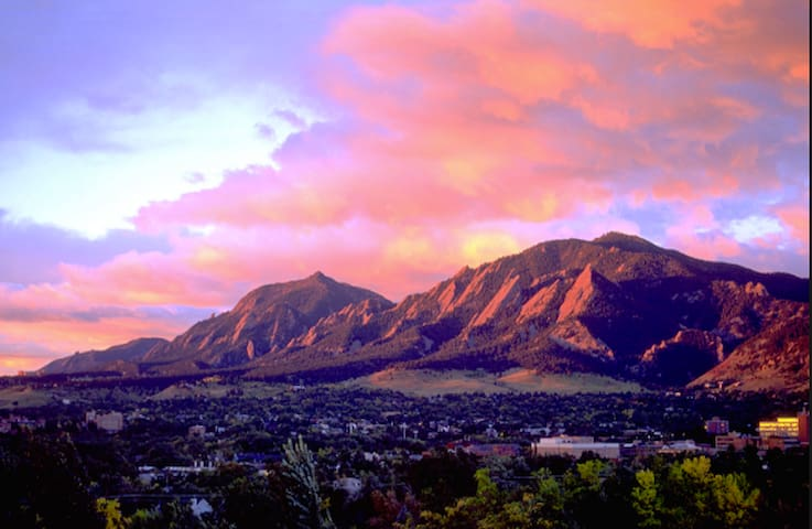 Boulder's iconic Flatirons as seen from north Boulder.