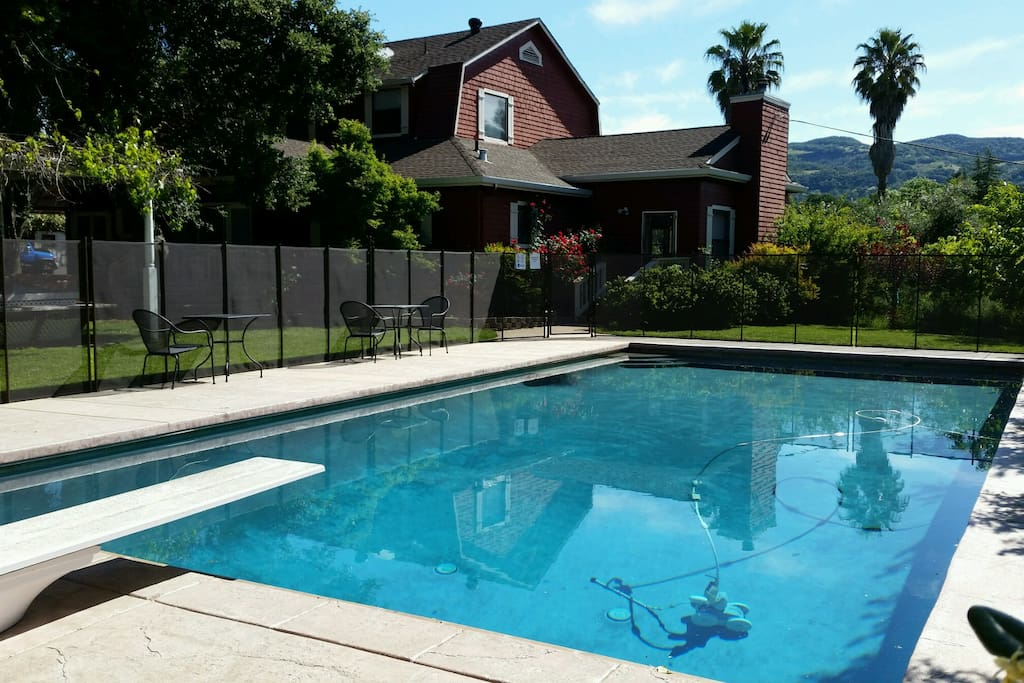 20' x 40' pool 9' deep in secluded corner of property.