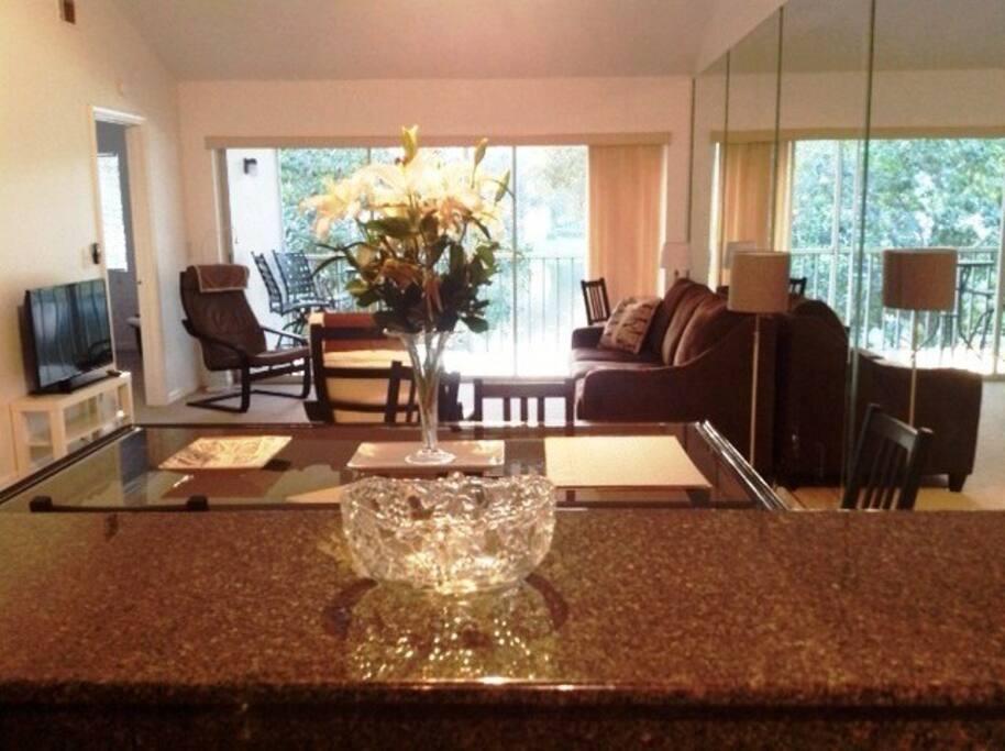 Séjour de la cuisine à la terrasse/ Living room from  kitchen bar to terrace.