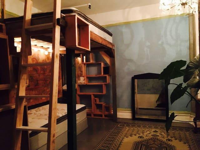 Shared Hostel Room in Warm Co-op: Friends Bunks