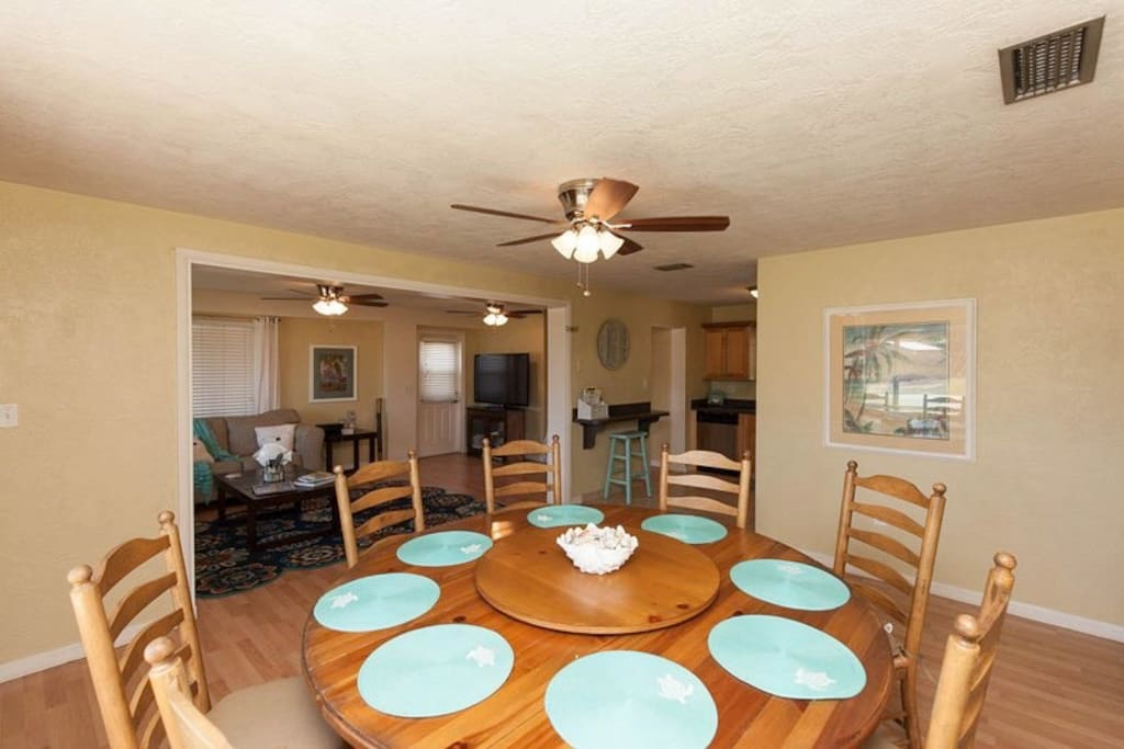 Our favorite part of the house: large round table seats 8 comfortably. Great for family dinners and conversation