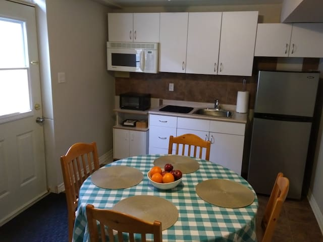 Kitchenette with sink, toaster oven, microwave, dishes, cuttlery, coffee, tea & full fridge with freezer