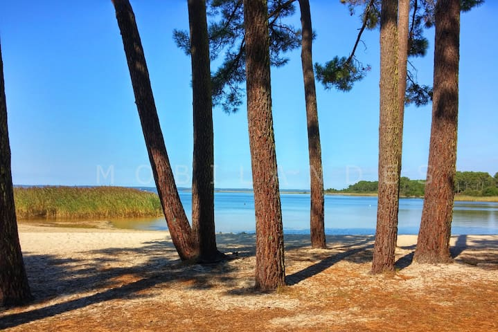 Les plages du lac depuis les pistes cyclables qui amènent au village et à biscarrosse.