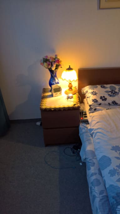Room/lights with flowers bedsheet