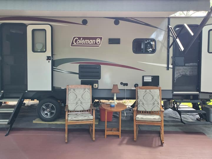 Glamping camper that sleeps up to 10, near bases.