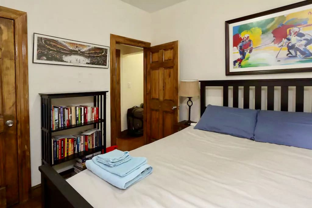 The bedroom has a queen sized bed, A/C, sunlight and plenty of closet space.