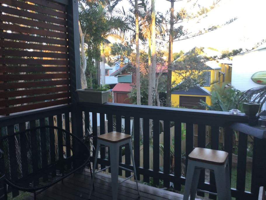 Top deck outdoor dining area with bbq