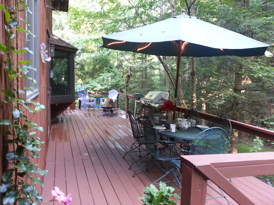 Fire pit on back deck and outdoor furniture for enjoyable dining