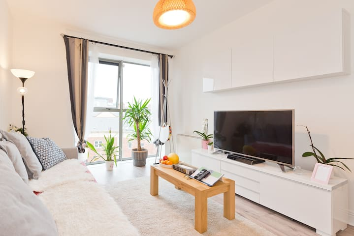 3 seater sofa bed, can change to king size bed, facing a 49 inch 4k smart TV with netflix. Very dangerous combination, you may end up spending whole day on it before you even notice!
