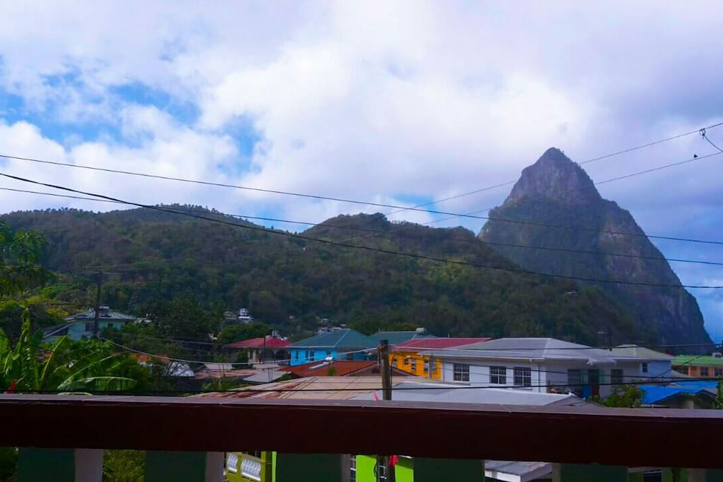 Enjoy a great view of one of our twin peaks - The Pitons