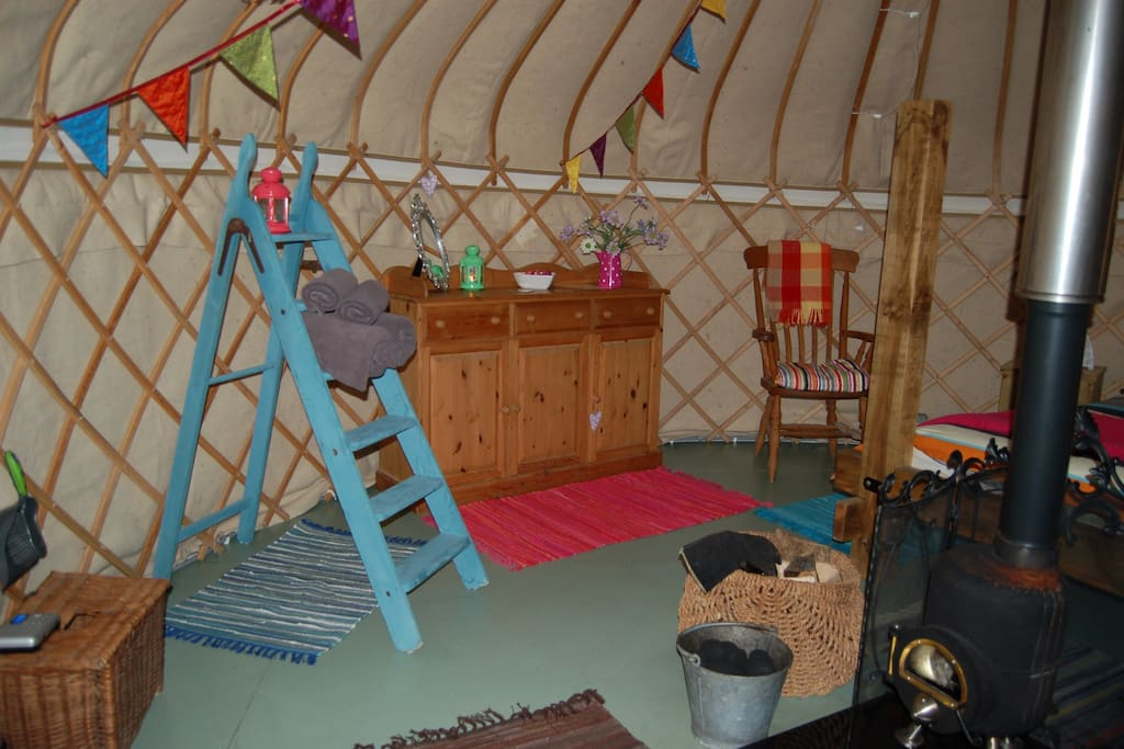 Interior inside the yurts