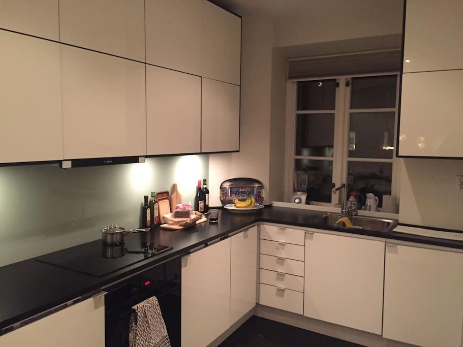 Modern kitchen with freezer, fridge, washingmashine