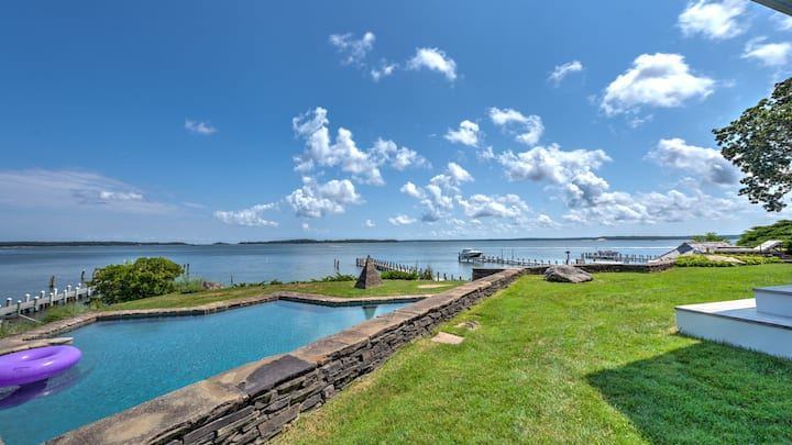NEW LISTING - Spectacular Waterfront Property w/ Dock, 200' Beachfront & Gunite Pool