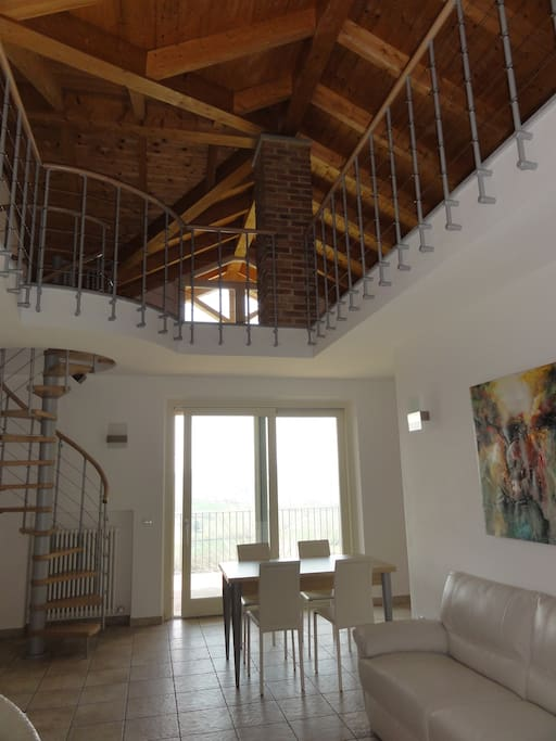 Barolo apartment - living room and loft view