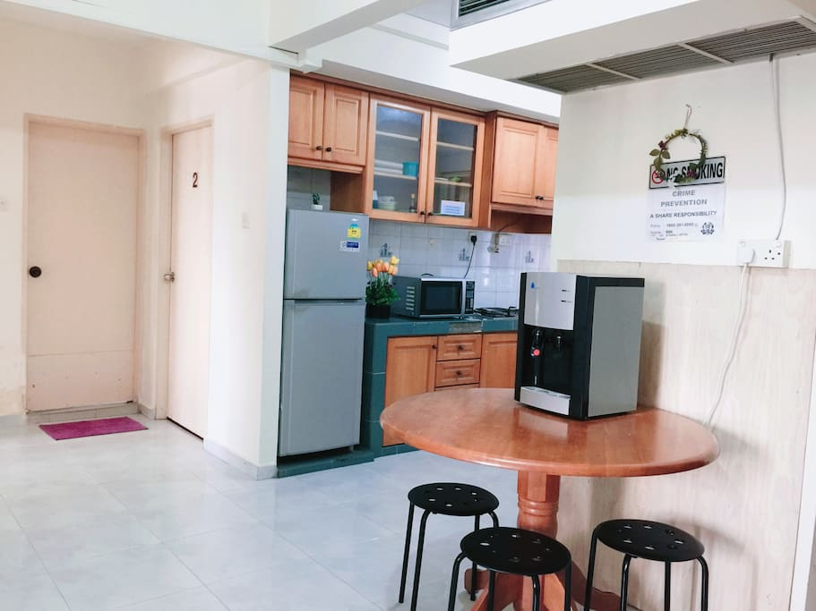 Clean dining and kitchen area