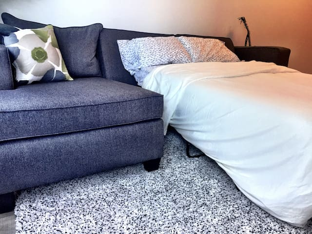 Section sofa, that includes a pull out bed for an extra guest.
