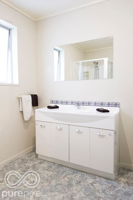 Main bathroom with vanity & shower- two seperate toilets available.