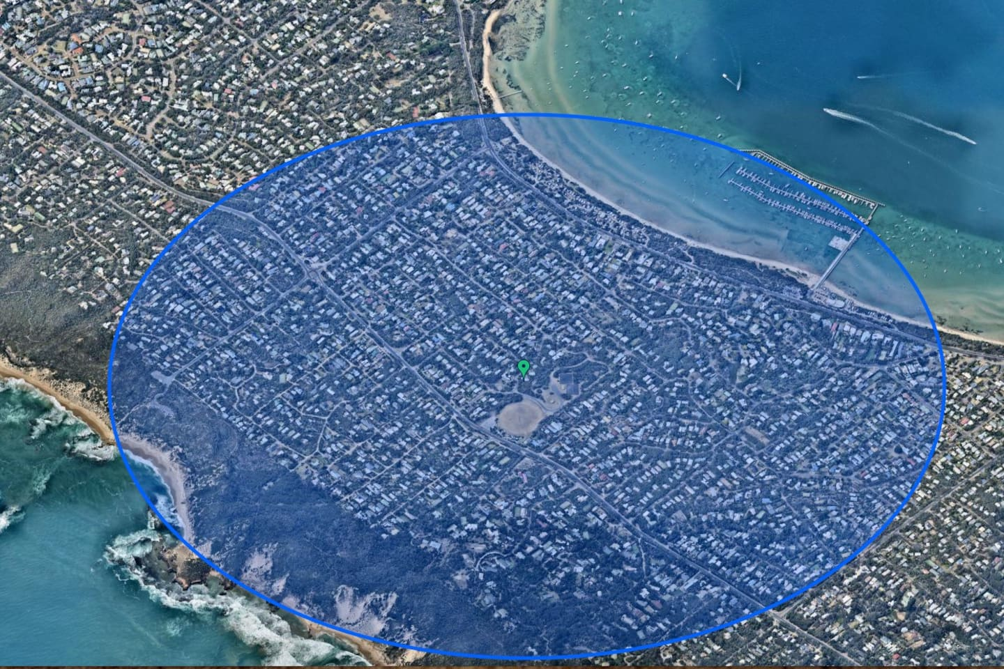 """The Magic of the Blue Circle - this blue area encircles the property with a 1km radius of coastal heaven. You would be hard-pressed to find a better location on the Mornington Peninsula. """"We enjoyed a short walk to the back beach and were blown away by how breathtaking and secluded it was... Really a magical experience. I would have no hesitations to come back and spend another weekend away in this lovely beach house. Thanks again Elia!!"""" James, March 2016."""