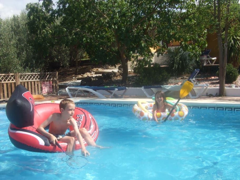 Fun and laughter in the fabulous pool - we supply some pool toys and inflatables, not the children though