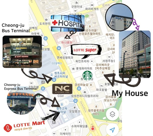 시외버스터미널, NC백화점, CGV  도보5분,   1층에 편의점 5min's on foot from cheongju bus terminal & cheongju express terminal.
