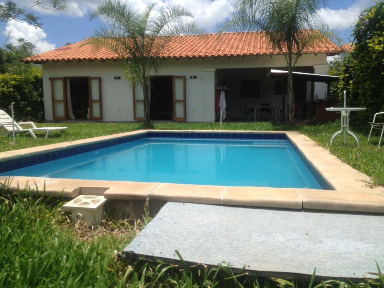 Pool garden barbeque