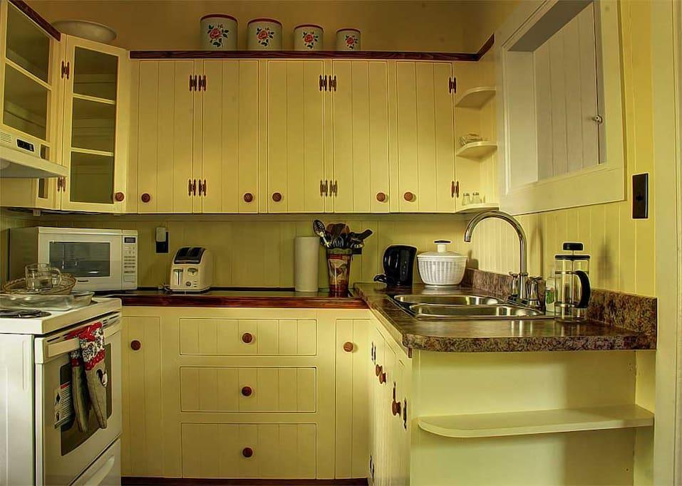 Well stocked kitchen.