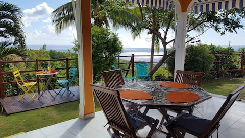 House with 2 bedrooms in Vieux Habitants, with wonderful sea view, enclosed garden and WiFi - 2 km from the beach