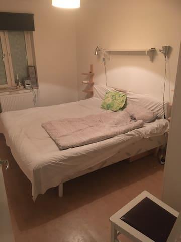 Stort rum med dubbelsäng i lägenhet