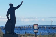 Port Melbourne beach and statue one block from the apartment.